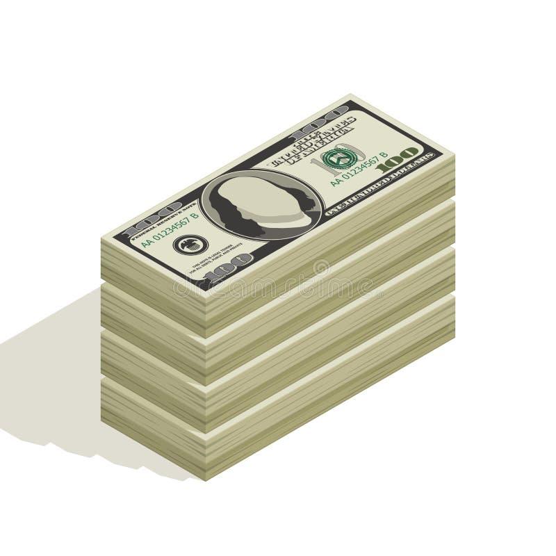 Packe av dendollar räkningen, buntar av sedlar, hög av kassa, pappers- pengar vektor illustrationer