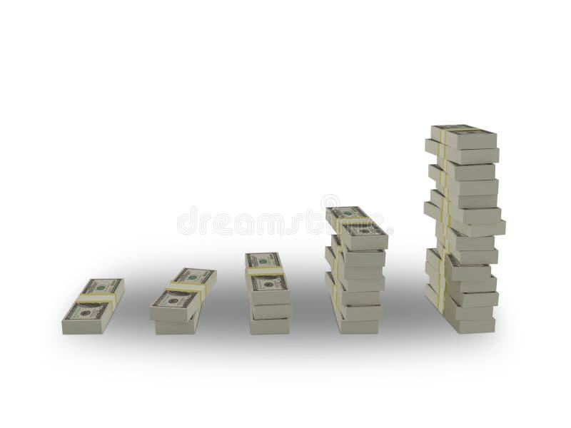 Packe av dollar på en vit bakgrund vektor illustrationer