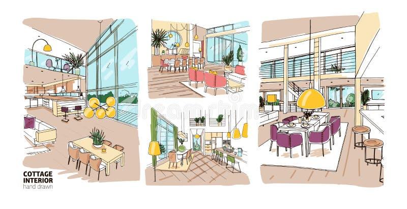 Packe av färgrika teckningar av sommarställeinre mycket av stilfullt och väl till mods möblemang Uppsättning av det hand drog hus vektor illustrationer
