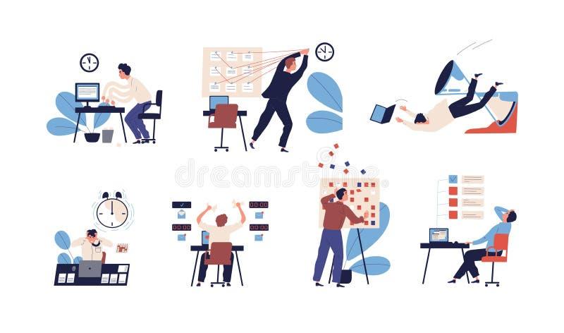 Packe av folk som är oförmöget att organisera deras uppgifter och brist att passa dem i schema Ställ in av platser med ineffektiv stock illustrationer