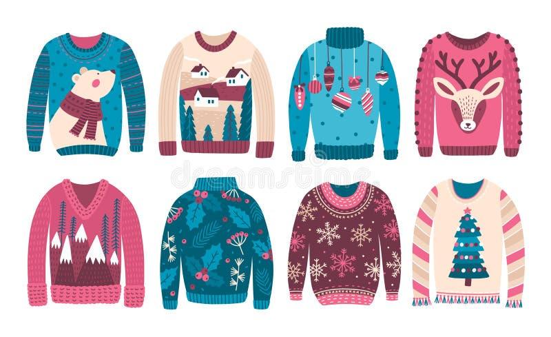 Packe av fula jultröjor eller förkläden som isoleras på vit bakgrund Samling av udda eller konstigt säsongsbetonat woolen vektor illustrationer