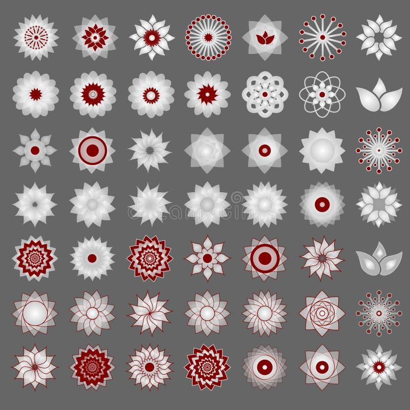 Packe av 49 genomskinliga ljusröda och vita abstrakta geometriska blommalogomall på grå bakgrund Abstrakt symbol för affär USA vektor illustrationer