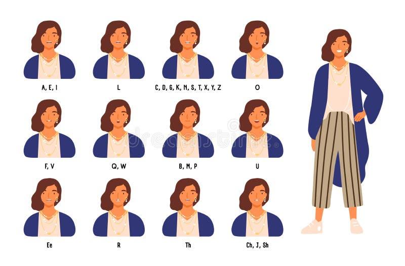 Packe av gulliga kant- eller munpositioner för kvinnligt tecken s för olika ljud Animeringen ställde in av ung kvinna eller flick royaltyfri illustrationer