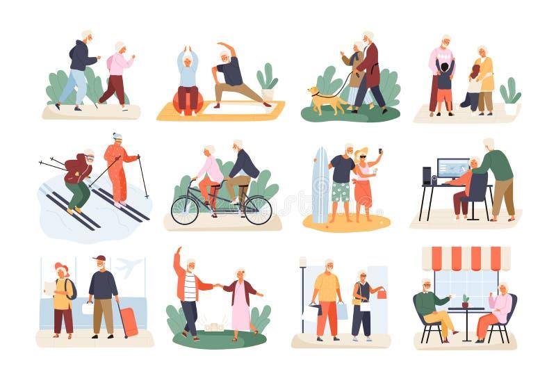 Packe av gulliga roliga aktiva äldre par som isoleras på vit bakgrund Samling av fritids- och sunda sportar vektor illustrationer