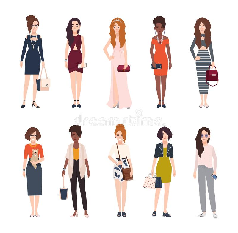 Packe av härlig iklädd moderiktig kläder för unga kvinnor Uppsättning av nätta flickor som bär stilfulla kläder och tillbehör vektor illustrationer