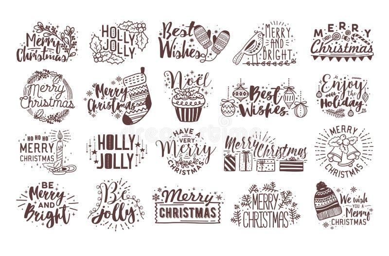 Packe av handskriven bokstäver för jul som dekoreras med traditionella ferieattribut - järneksidor, struntsaker, stearinljus stock illustrationer