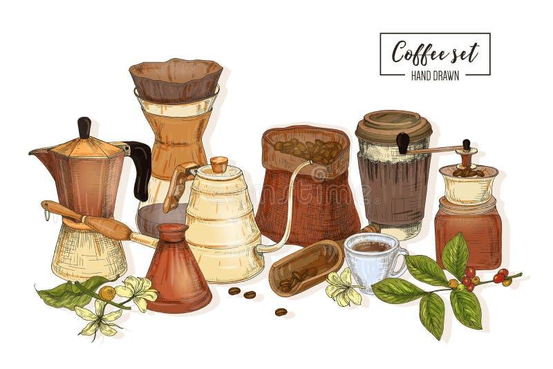 Packe av hjälpmedel för att brygga för kaffe - mokakrukan, turkisk cezve, kokkärl med den långa utloppsröret, exponeringsglas häl stock illustrationer