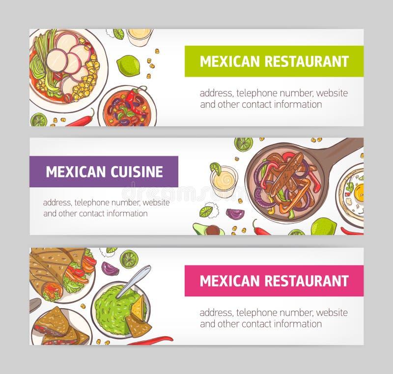 Packe av horisontalrengöringsdukbaner med nationella mål av mexicansk kokkonst och stället för text på vit bakgrund brigham stock illustrationer