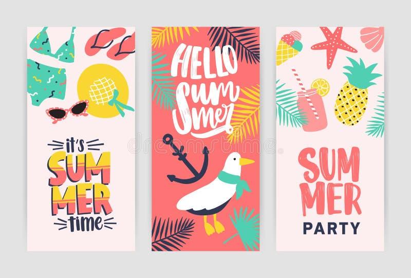 Packe av idérika reklambladmallar för sommarpartimeddelande Kulör vektorillustration i plan tecknad filmstil för vektor illustrationer