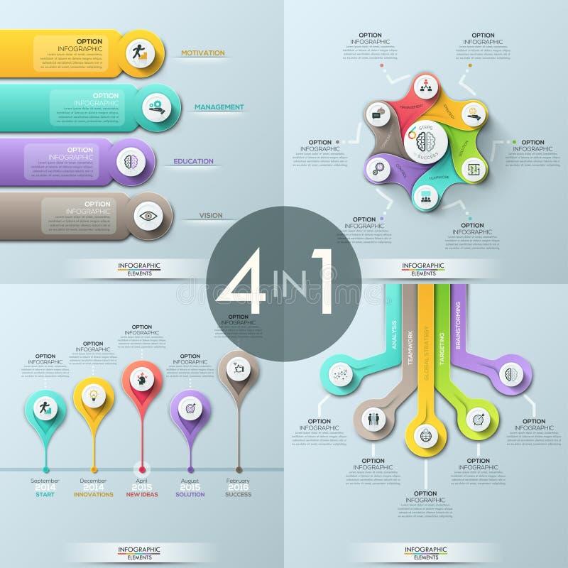 Packe av 4 infographic designmallar stock illustrationer