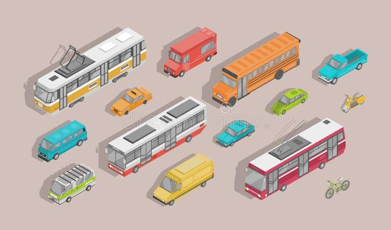 Packe av isometriska motorfordon som isoleras på ljus bakgrund - bil, sparkcykel, buss, spårvagn, trådbuss, minivan, cykel stock illustrationer