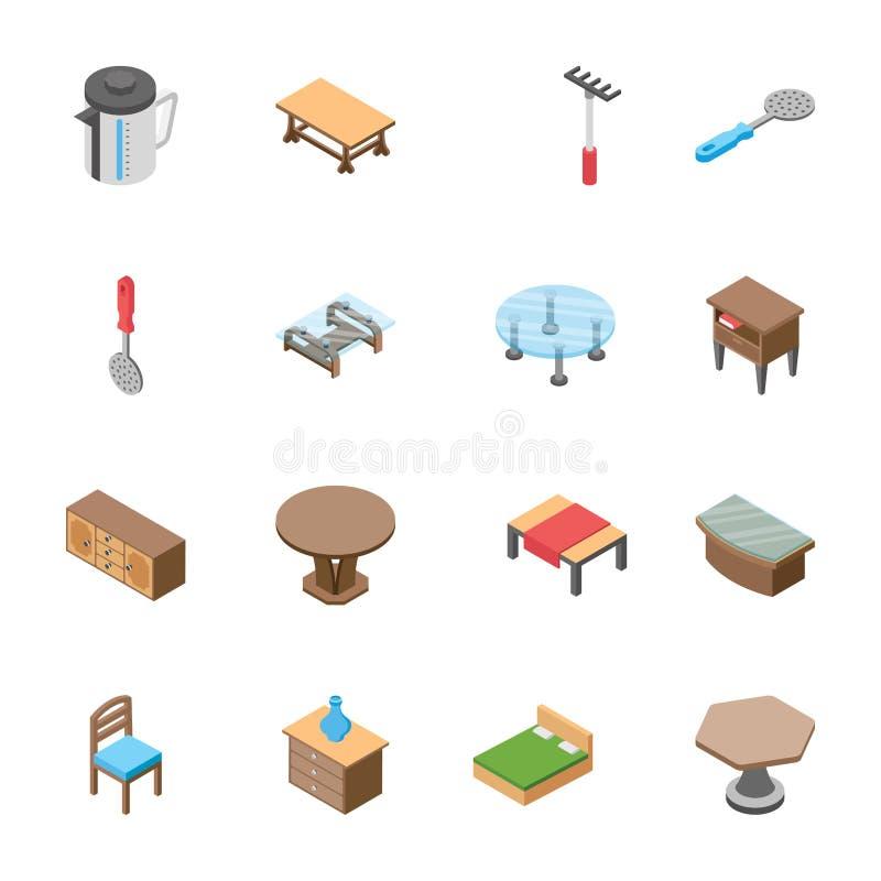 Packe av isometriska objekt stock illustrationer