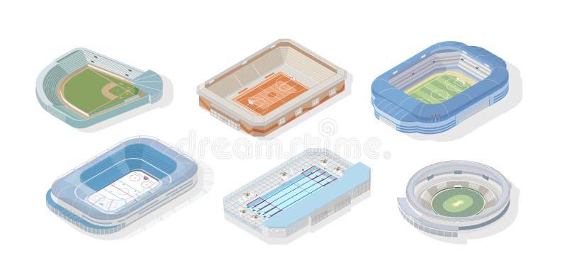Packe av isometriska stadion för olika typer av sportar - basket, fotboll eller fotboll, syrsa, simbassäng vektor illustrationer