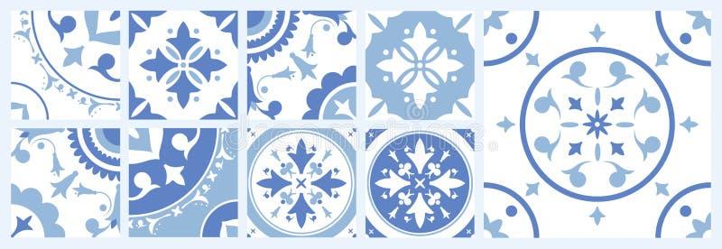 Packe av keramiska fyrkanttegelplattor med olika traditionella orientaliska modeller Uppsättning av medelhavs- dekorativa prydnad royaltyfri illustrationer