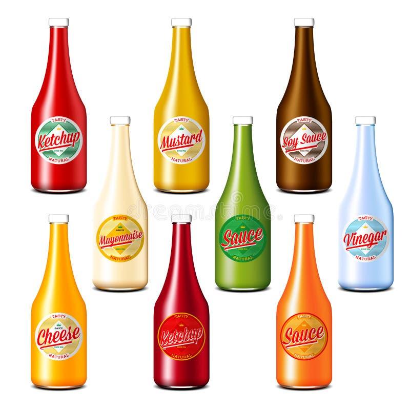 Packe av ketchup-, vinäger-, senap-, sojaböna-, ost- och majonnässåsflaskor royaltyfri illustrationer