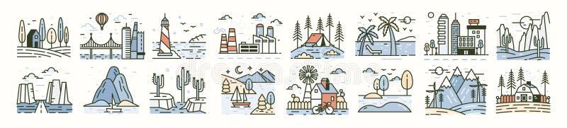 Packe av landskapsymboler eller platser Ställ in av härliga moderiktiga naturliga landskap - stranden, skoglägret, bygd, öken stock illustrationer