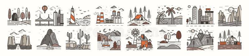 Packe av landskapsymboler eller symboler Ställ in av härliga naturliga landskap - stranden, skoglägret, bygd, öknen, stad stock illustrationer