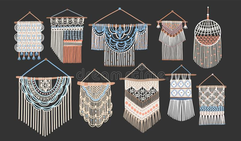 Packe av makramévägggobeläng som isoleras på svart bakgrund Uppsättning av handcrafted husgarneringar i skandinavisk stil vektor illustrationer