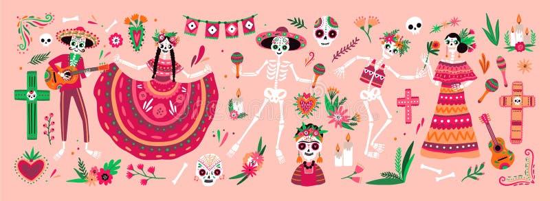 Packe av Mexikan Diameter de los Muertos symboler - iklädda nationella folk dräkter för skelett som spelar gitarren, maracas elle vektor illustrationer