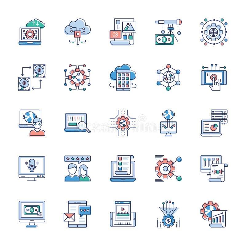 Packe av moderna teknologisymboler royaltyfri illustrationer