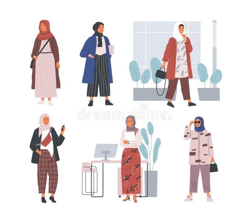 Packe av moderna unga muslimska kvinnor som bär moderiktig kläder och hijab Ställ in av trendiga arabiska flickor Samling av vektor illustrationer