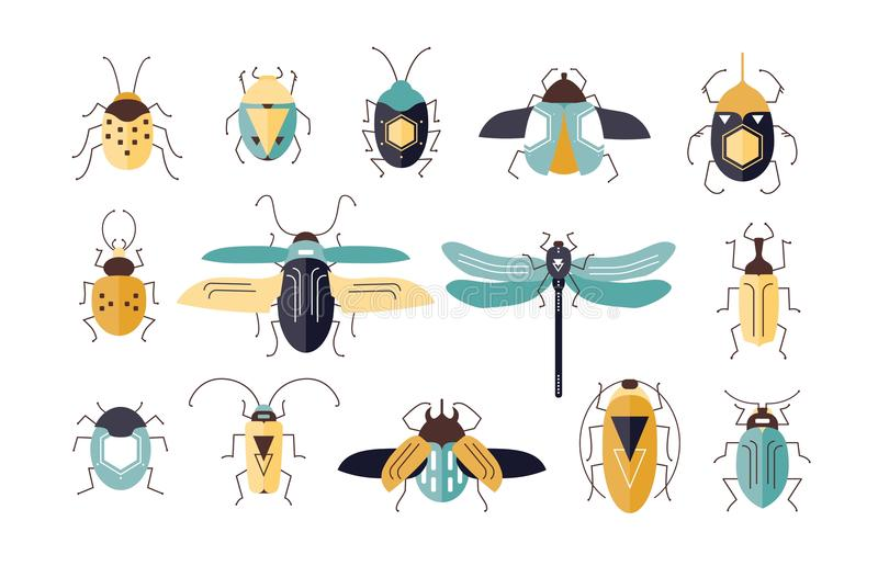 Packe av olika färgrika geometriska kryp med vingar och antenner som isoleras på vit bakgrund - fel, skalbaggar royaltyfri illustrationer