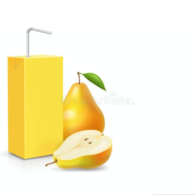 Packe av päronfruktsaft med att dricka illustrationen för vektor 3d för sugrörsymbol den realistiska vektor illustrationer