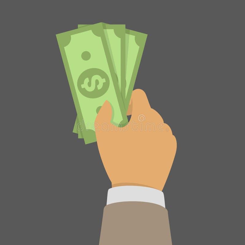 Packe av pengar i hand stock illustrationer