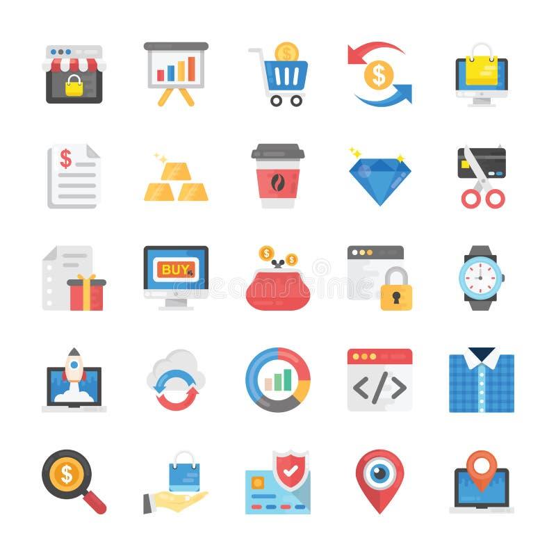 Packe av plana symboler för shopping och för Ecommerce stock illustrationer