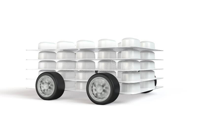Packe av preventivpillerar med fäste hjul stock illustrationer