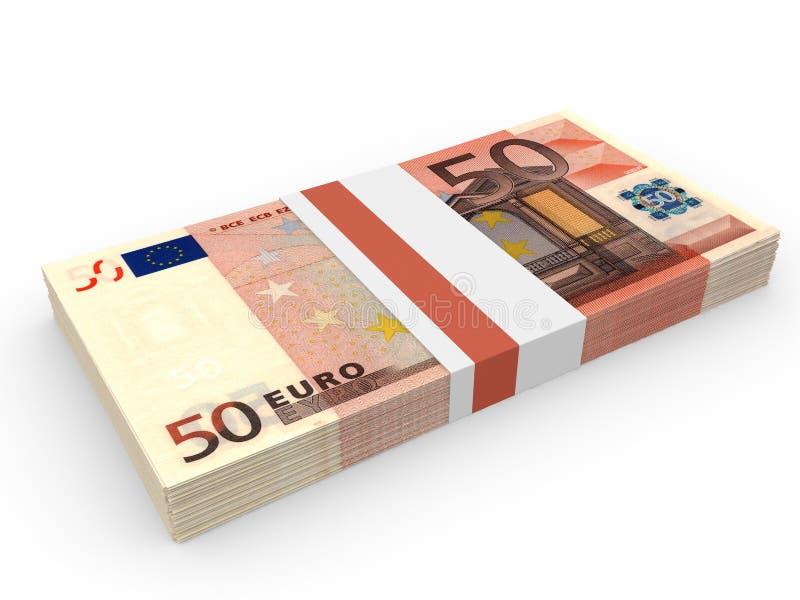 Packe av sedlar euros femtio royaltyfri illustrationer