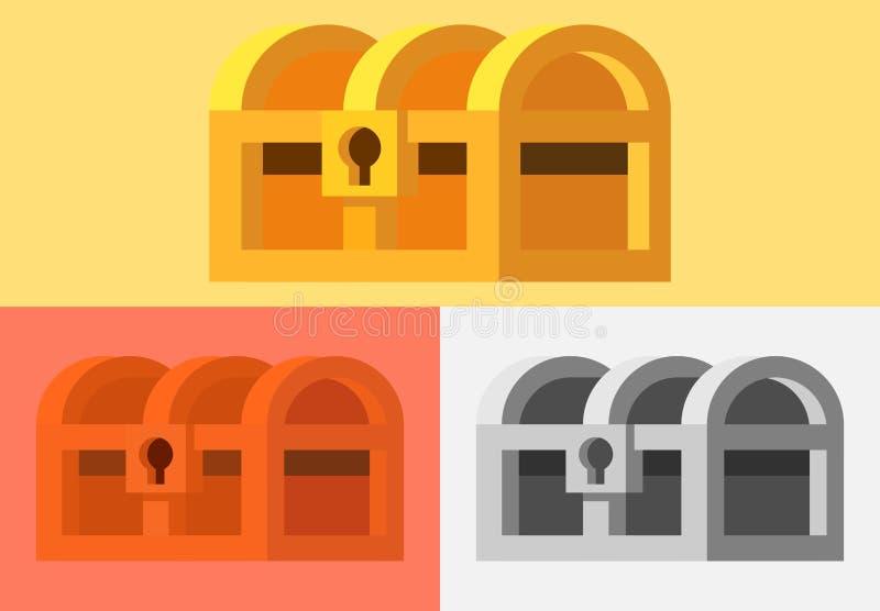 Packe av skattbröstkorgen stock illustrationer