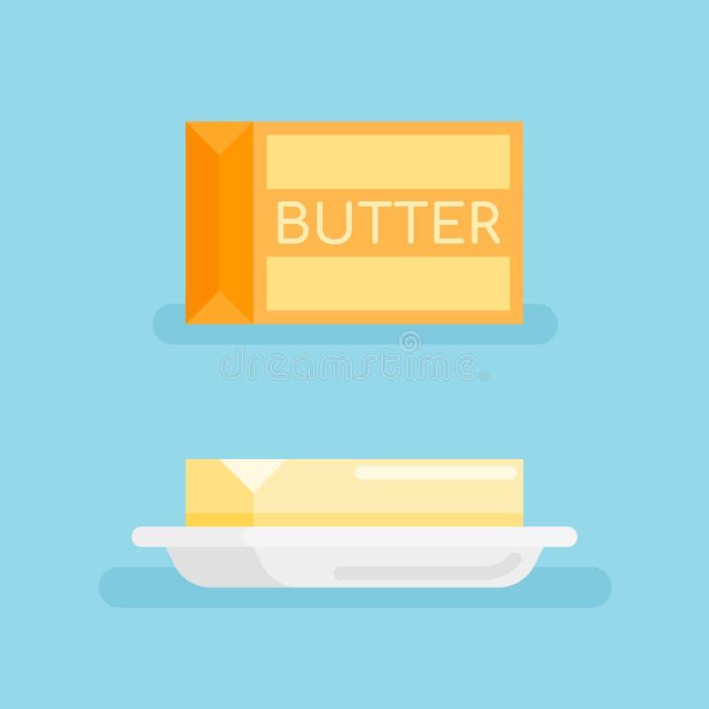 Packe av smör och smör på tefatet Plan stilsymbol också vektor för coreldrawillustration stock illustrationer