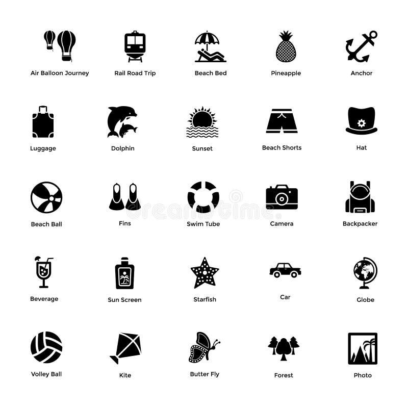 Packe av symboler för hav- och havslivskåra vektor illustrationer