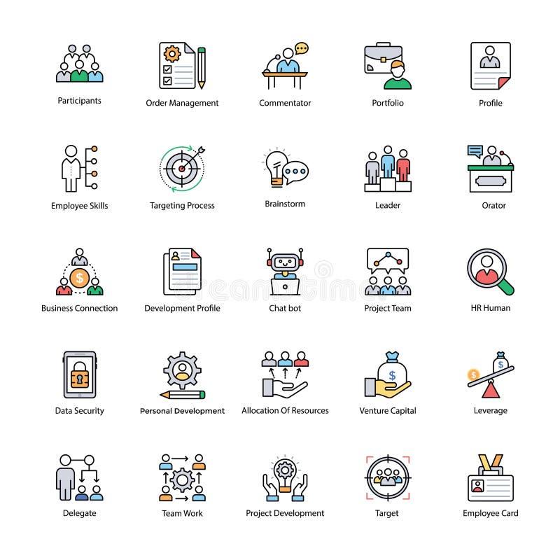 Packe av symboler för lägenhet för affärsledning vektor illustrationer