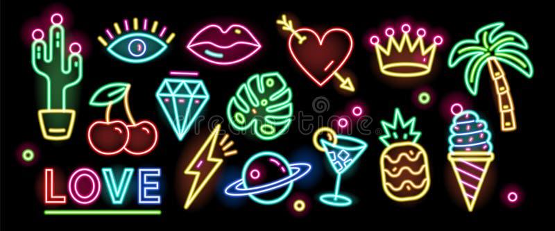 Packe av symboler, tecken eller skyltar som glöder med färgrikt neonljus som isoleras på svart bakgrund Samling av stock illustrationer