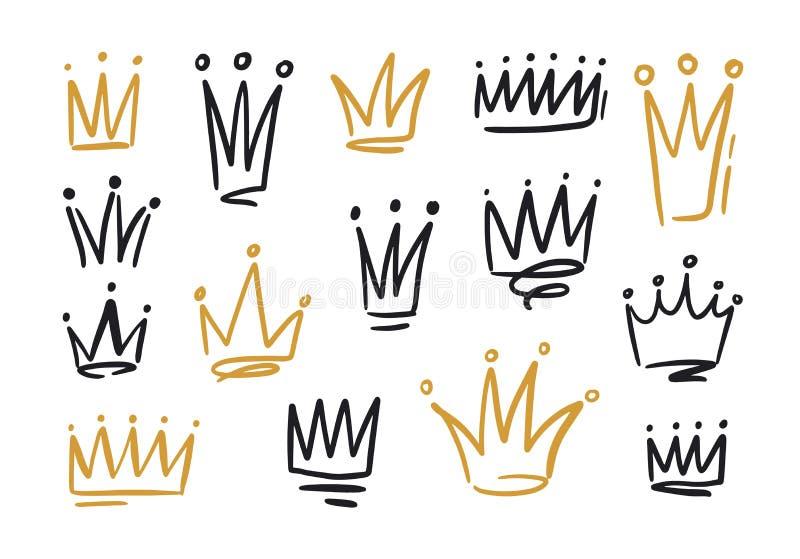 Packe av teckningar av kronor eller kronor för konung eller drottning Symboler av monarki, suverän myndighet och makthanden stock illustrationer