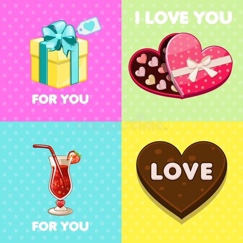 Packe av trevliga valentinhälsningkort stock illustrationer