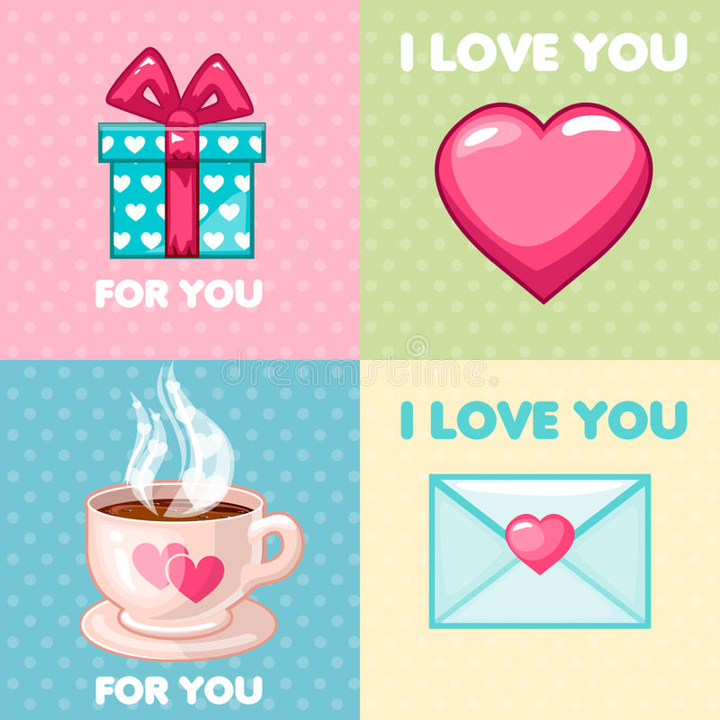 Packe av trevliga valentinhälsningkort royaltyfri illustrationer