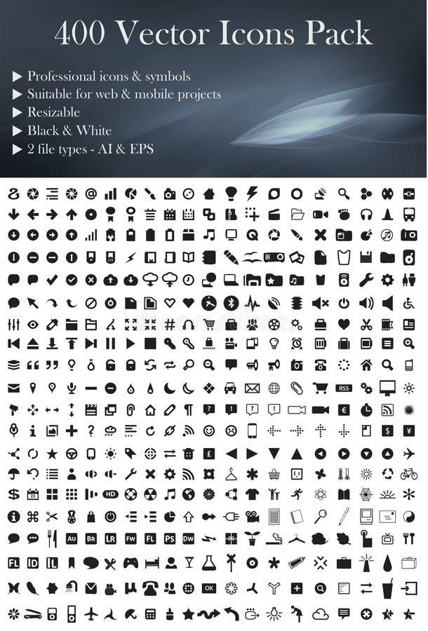 Packe för 400 vektorsymboler (den svarta versionen) vektor illustrationer
