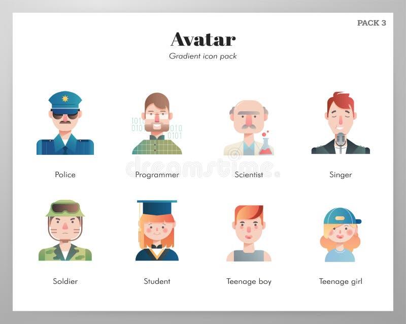 Packe för Avatarsymbolslutning royaltyfri illustrationer