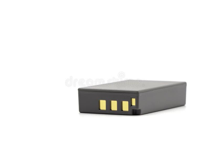 Packe för batteri för grå färglitiumjon för kameran som isoleras på vit bakgrund royaltyfri foto