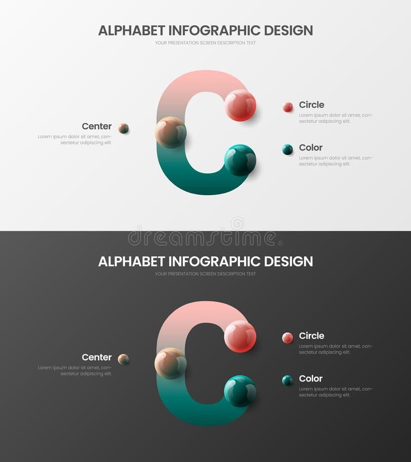 Packe för bollar 3D för vektoralfabet infographic realistisk Flerfärgad uppsättning för mall för orientering för illustration för stock illustrationer
