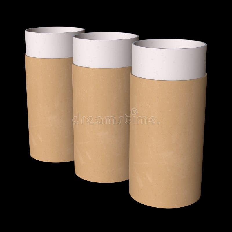 Packe för papprör för Kraft papper stock illustrationer