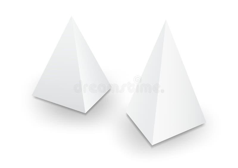 packe för pyramid 3d, ask, produktdesign, vektorillustration royaltyfri illustrationer