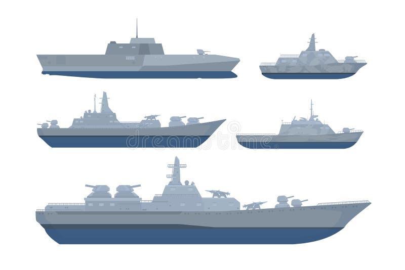 Packe för samling för krigskepp fastställd med den olikt modellen och format med modern stil och grå svart färg - stock illustrationer