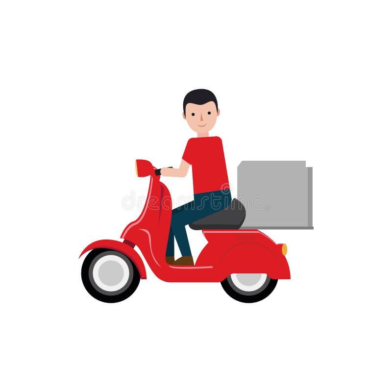 packe för sparkcykel för ridning för leveranspojke vektor illustrationer