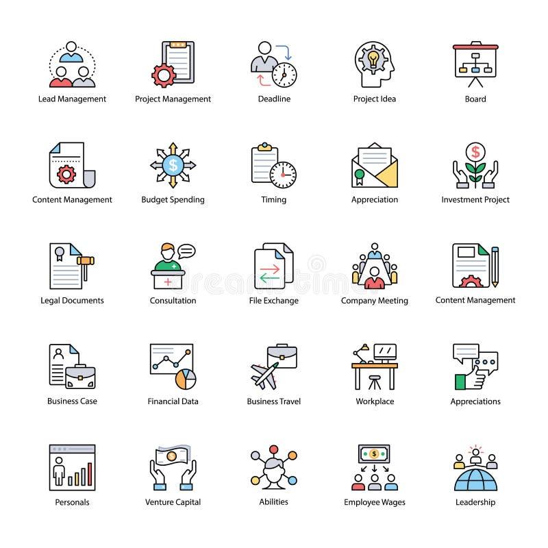 Packe för symboler för lägenhet för affärsledning stock illustrationer