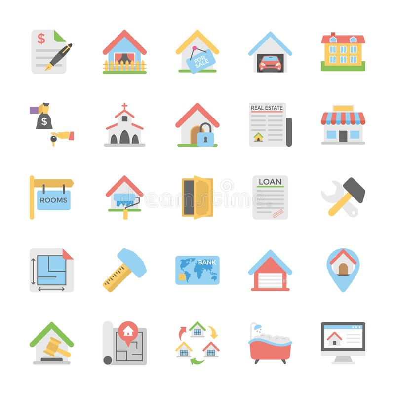 Packe för symboler för Real Estate lägenhetvektor stock illustrationer