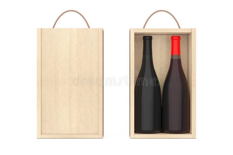 Packe för vin för blanko för vinflaskor trämed handtaget framförande 3d royaltyfri illustrationer